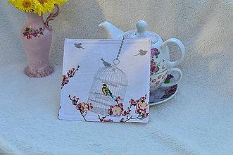 Úžitkový textil - Podložka pod šálku-nostalgický vtáčik - 4648075_