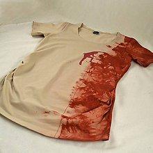 Tehotenské oblečenie - Těhotenské triko s horolezcem caffé latté/vínová L/XL - 4646935_