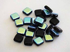 Korálky - Štvorčeky 2-dierkové 6x6mm, 10 ks čierna - 4657577_