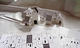 Hračky - Adventný kalendár - domčeky s HNEDOU potlačou - 4655507_