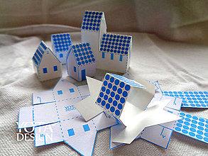 Papiernictvo - Adventný kalendár - domčeky s MODROU potlačou - 4655436_