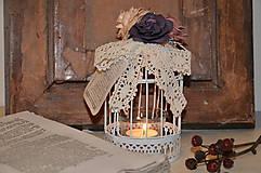 Svietidlá a sviečky - Mini shabby klietka - svietnik - 4663063_