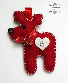 Dekorácie - Vianočný sobík červený - 4657855_