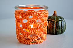 Háčkovaný svietnik - oranžový