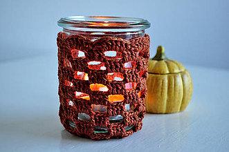 Svietidlá a sviečky - Háčkovaný svietnik - škoricový - 4662181_