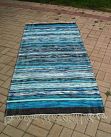 Úžitkový textil - tkaný koberec - tyrkysový cca 80x200 cm - 4662335_