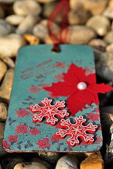 Papiernictvo - Vianočná kartička (tag) VLOČKY - 4666376_