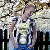 - Cat! (tričko pruhované, potlač zlatá) - 4663362_