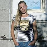 Tričká - Cat! (tričko pruhované, potlač zlatá) - 4663363_