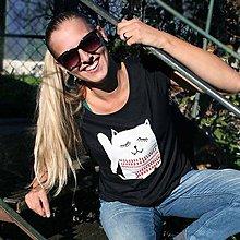Tričká - Cat! (tričko s manžetou) - 4663337_