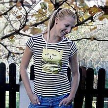 Tričká - Cat! (tričko pruhované, potlač zlatá) - 4663362_