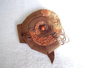 Odznaky/Brošne - Brošňa kožená, koniec rozkvetu - 4663837_