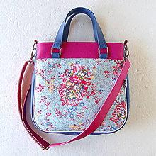 Veľké tašky - Big Sandy - Modrá s kvetmi - 4671776_