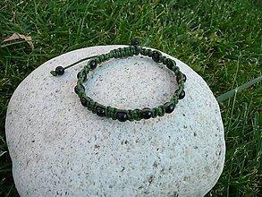 Náramky - Zelený shamballa náramok (unisex) - 4669133_