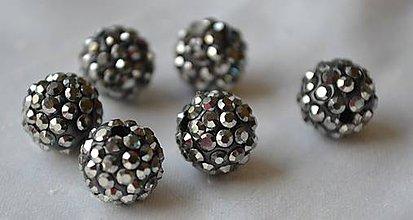 Korálky - Shamballa korálky CZ kryštál black diamond, 8mm, 0.40€/ks - 4673277_