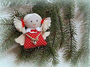 Dekorácie - anjelik -ozdoba na stromček (2) - 4679801_