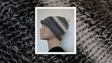 Čiapky - Pletená jesenná čiapočka s brmbolcom - 4677025_