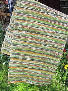 Úžitkový textil - tkaný koberec - zeleno oranžový 70 x 150 cm - 4680123_