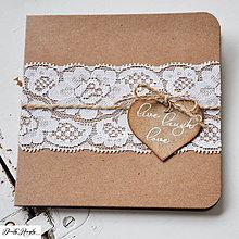 Papiernictvo - Rustikálne svadobné oznámenie - čipka - 4684405_