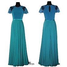 Šaty - Spoločenské šaty v dvojfarebnej kombinácii z elastického materiálu rôzne farby - 4682759_