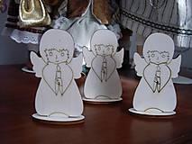 Polotovary - Drevený anjelik  - vianočná dekorácia - 4686253_