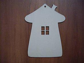 Polotovary - Drevená tabuľka - domček + okno - 4686486_