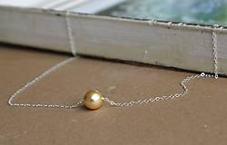 Náhrdelníky - Náhrdelník so zlatou perlou svadobný - 4685579_