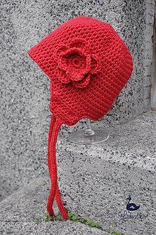 Detské čiapky - Zimná červená s klapkami na uši - 4686310_
