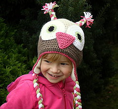 Detské čiapky - dievčenská fleecom zateplená sovička - 4686682_