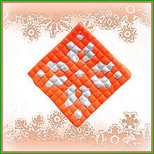 Dekorácie - Mozaiková vianočná ozdoba (oranžová) - 4684711_