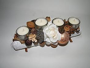 Svietidlá a sviečky - Adventný svietnik_Hnedé Vianoce s príchuťou ružového šampusu... - 4692249_