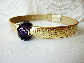 Náramky - Zlatý náramok s fialovou brúsenou vinutkou - 4690063_