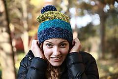 Čiapky, čelenky, klobúky - pruhovaný melír 1 - 4690387_