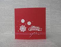 Papiernictvo - Červeno-biela s vločkami - 4691443_
