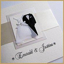Papiernictvo - Svadobné oznámenie otvárateľné ~Wedding satén~ - 4692264_