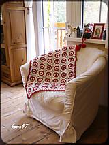 Úžitkový textil - Deka bielo-červená...