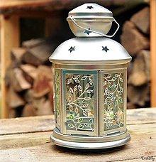 Svietidlá a sviečky - Maľovaný lampáš - Lístky - 4697157_