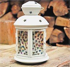 Svietidlá a sviečky - Maľovaný lampáš - Srdiečka - 4698673_