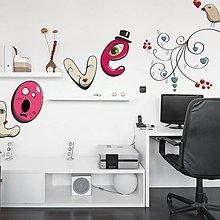 Kresby - (3373f) Nálepky na stenu - LOVE a vtáčiky:-))) - 4703641_