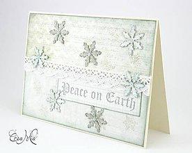 Dekorácie - Pohľadnica z vianočnej dedinky - Peace on Earth - 4700964_