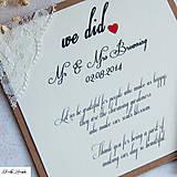 Papiernictvo - Rustikálne svadobné oznámenie - ďakovacia karta po svadbe - čipka - 4701994_