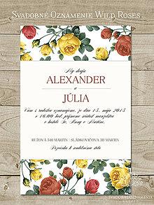 Papiernictvo - Svadobné oznámenie Wild Roses - 4702481_