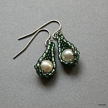 Náušnice - Dew Drops zelené - 4704807_