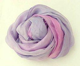 Šály -  fialovo-ružový hodvábny šál  - 4706120_