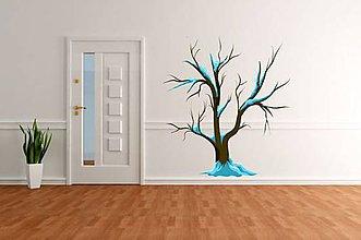 Kresby - (2517f) Nálepka na stenu - Zasnežený STROM - 4707071_