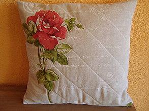 Úžitkový textil - Vankúšik - ružička - 4711702_