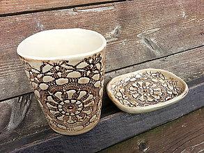 Nádoby - Sada pohár na kefky a mydlovnička sedmikráska - 4713315_
