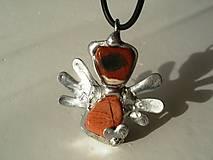 Náhrdelníky - Anjelik so srdiečkom-jaspis brekcia-prívesok-tiffany - 4713849_