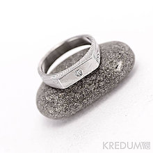 Prstene - Zásnubní prsten damasteel PROLILI a pravý diamant 2 mm - 4716281_