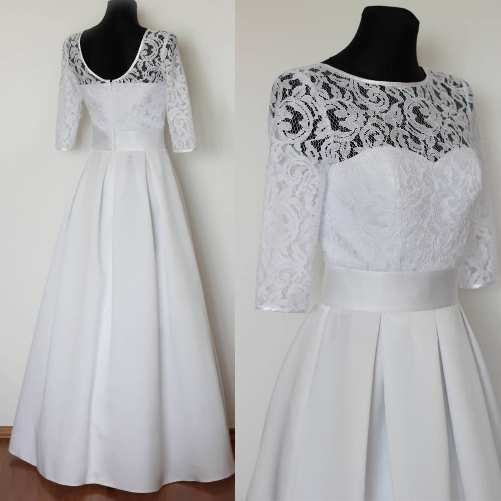 97b68c238f40 Svadobné šaty v retro štýle so skladanou sukňou   Dyona - SAShE.sk